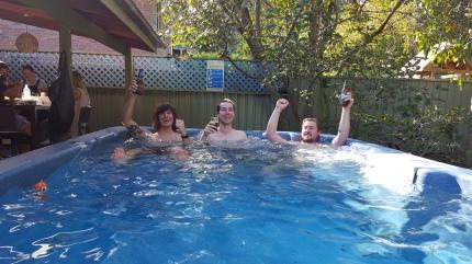 Boozy boys in the spa